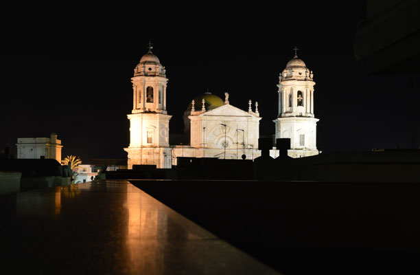 View of the cathedral from our hotel, The Patagonia, in Cadiz.